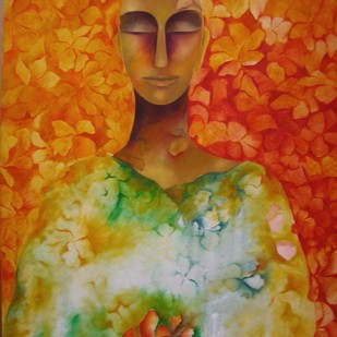 Simple Abundance by Prenita Dutt, Decorative Painting, Oil on Canvas, Brown color