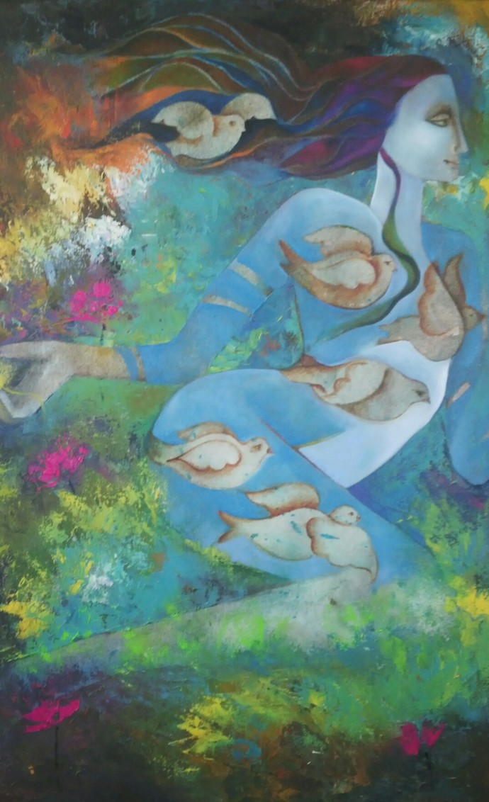 Free and Wild by Prenita Dutt, Decorative Painting, Oil on Canvas, Green color