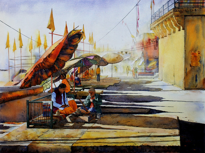 Beauty of Baranasi Ghat-19 by Mainuddin Mullick, Impressionism Painting, Acrylic on Canvas, Brown color