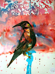 Indian Crow by Sankar Nag, Impressionism Painting, Mixed Media on Paper, Pink color