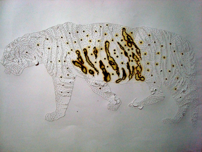 Holes on Hungry Tiger by Sankar Nag, Expressionism Painting, Mixed Media on Paper, Gray color