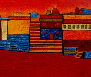 Banaras by Sandesh Khule, Decorative Digital Art, Oil on Canvas, Red color