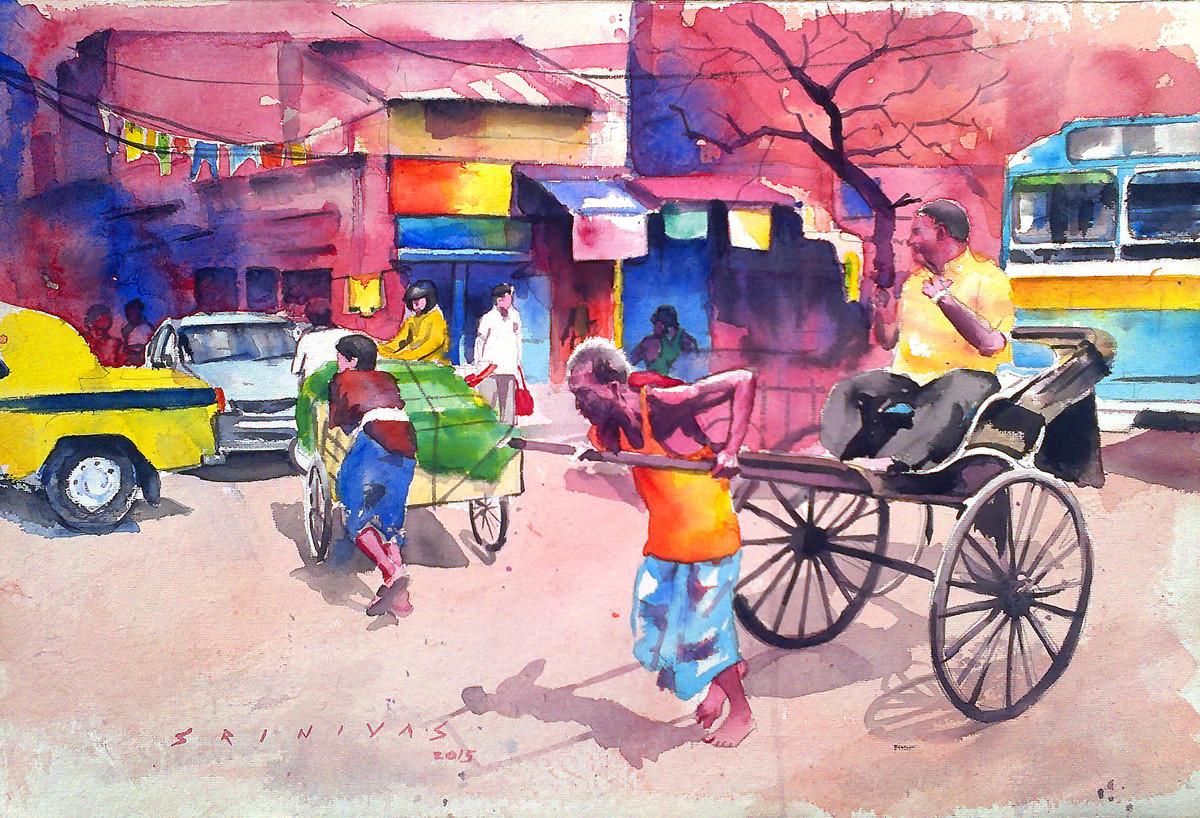 Kolkata Street Scene Digital Print by Sreenivasa Ram Makineedi,Impressionism