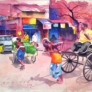 Kolkata Street Scene by Sreenivasa Ram Makineedi, Impressionism Painting, Watercolor on Paper, Pink color