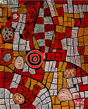 What the Bird Saw… by Annavaram Srinivas, Abstract Painting, Acrylic & Ink on Canvas, Brown color