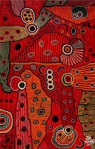 Swirls and eddies by Annavaram Srinivas, Abstract Painting, Acrylic on Canvas, Red color
