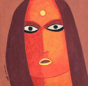 She by Amit Biswas, Decorative Painting, Tempera on Board, Brown color