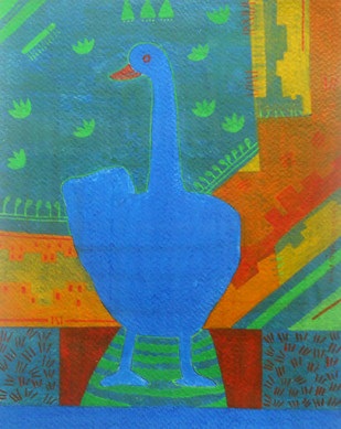 Memoirs of North Bengal by Amit Biswas, Decorative Painting, Tempera on Paper, Blue color