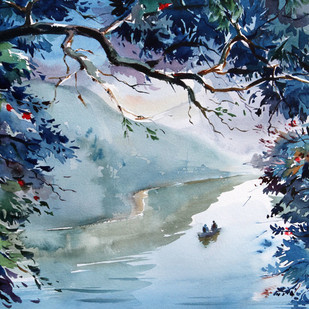 Harmony Through Reflection & Life by GN Madhu, Impressionism Painting, Watercolor on Paper, Blue color