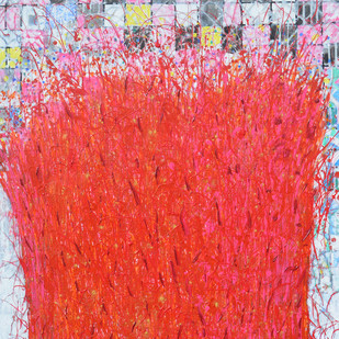 Celebration I by Kalicharan Gupta, Abstract Painting, Acrylic on Canvas, Red color