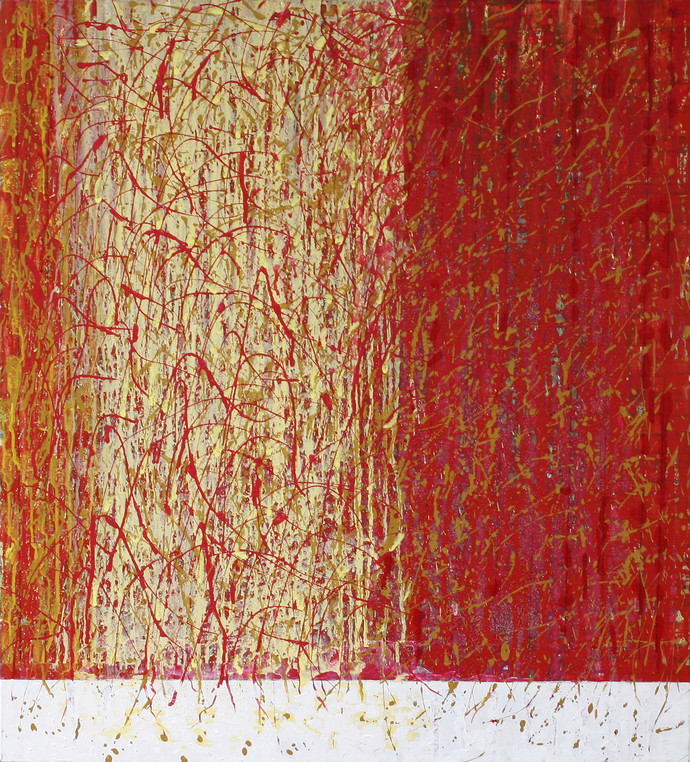 Celebration IV by Kalicharan Gupta, Abstract Painting, Acrylic on Canvas, Brown color