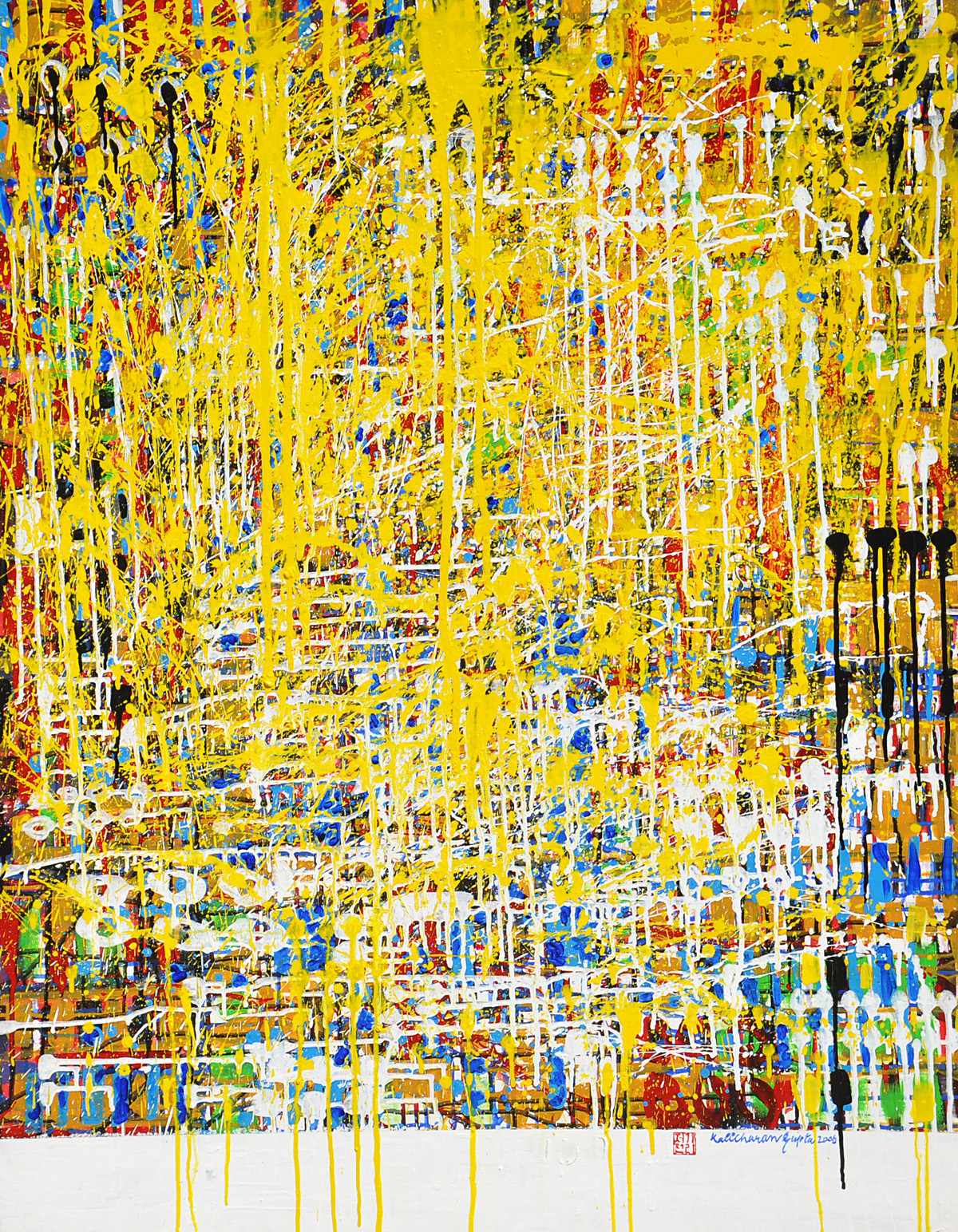 Celebrations-II by Kalicharan Gupta, Abstract Painting, Acrylic on Canvas, Beige color