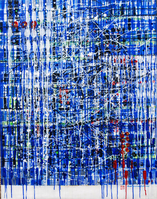 Metropolitan by Kalicharan Gupta, Abstract Painting, Acrylic on Canvas, Blue color