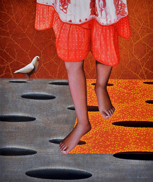 The Path by Pradip Unni, Surrealism Painting, Acrylic on Canvas, Brown color
