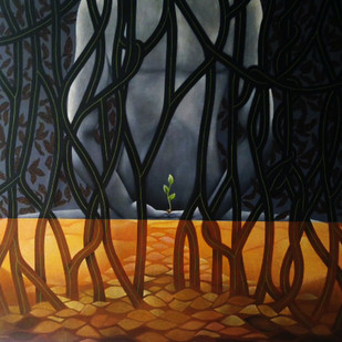 Survival of man and nature by Pradip Unni, Surrealism Painting, Acrylic on Canvas, Brown color