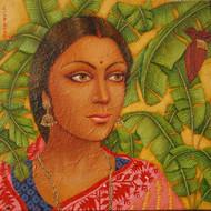 Artist suparna dey title bengali bride i medium oil on canvas size 12x12inch