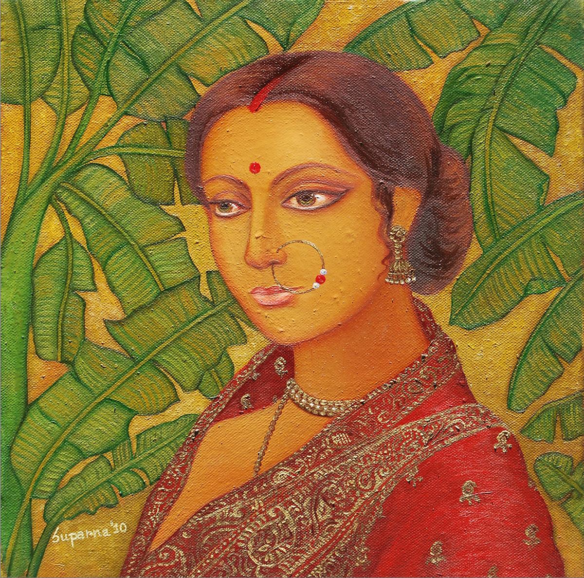 Bengali Bride IV by Suparna Dey, Realism Digital Art, Oil on Canvas, Green color