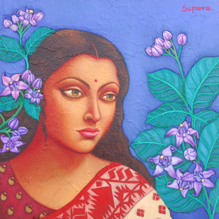 Charulata I by Suparna Dey, Realism Digital Art, Oil on Canvas, Blue color