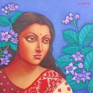 Artist suparna dey title charulata i size 12x12inch oil on canvas