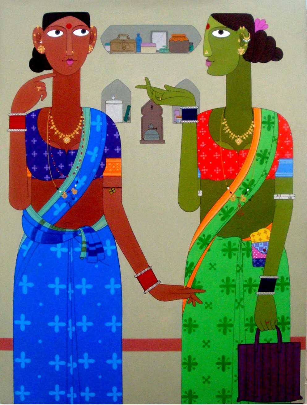 Untitled by Kandi Narsimlu, Traditional Painting, Acrylic on Canvas, Beige color
