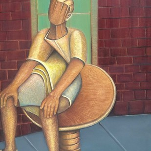 Resting by Niku Guleria, Expressionism Painting, Oil on Canvas, Brown color