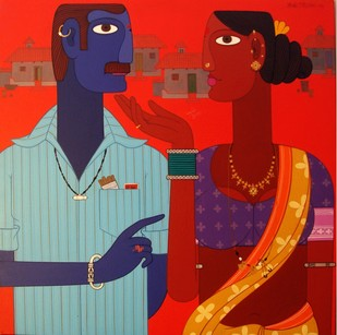 Untitled by Kandi Narsimlu, Traditional Painting, Acrylic on Canvas, Red color