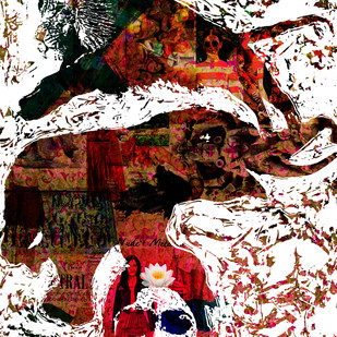 Nara-Gaja-Simha (Man-Elephant-Lion) by Sayak Mitra, Conceptual Digital Art, Digital Print on Paper, Brown color