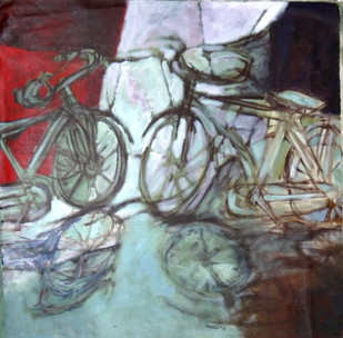 Bicycle by Pradip Chaudhuri, Conceptual Painting, Acrylic on Canvas, Brown color