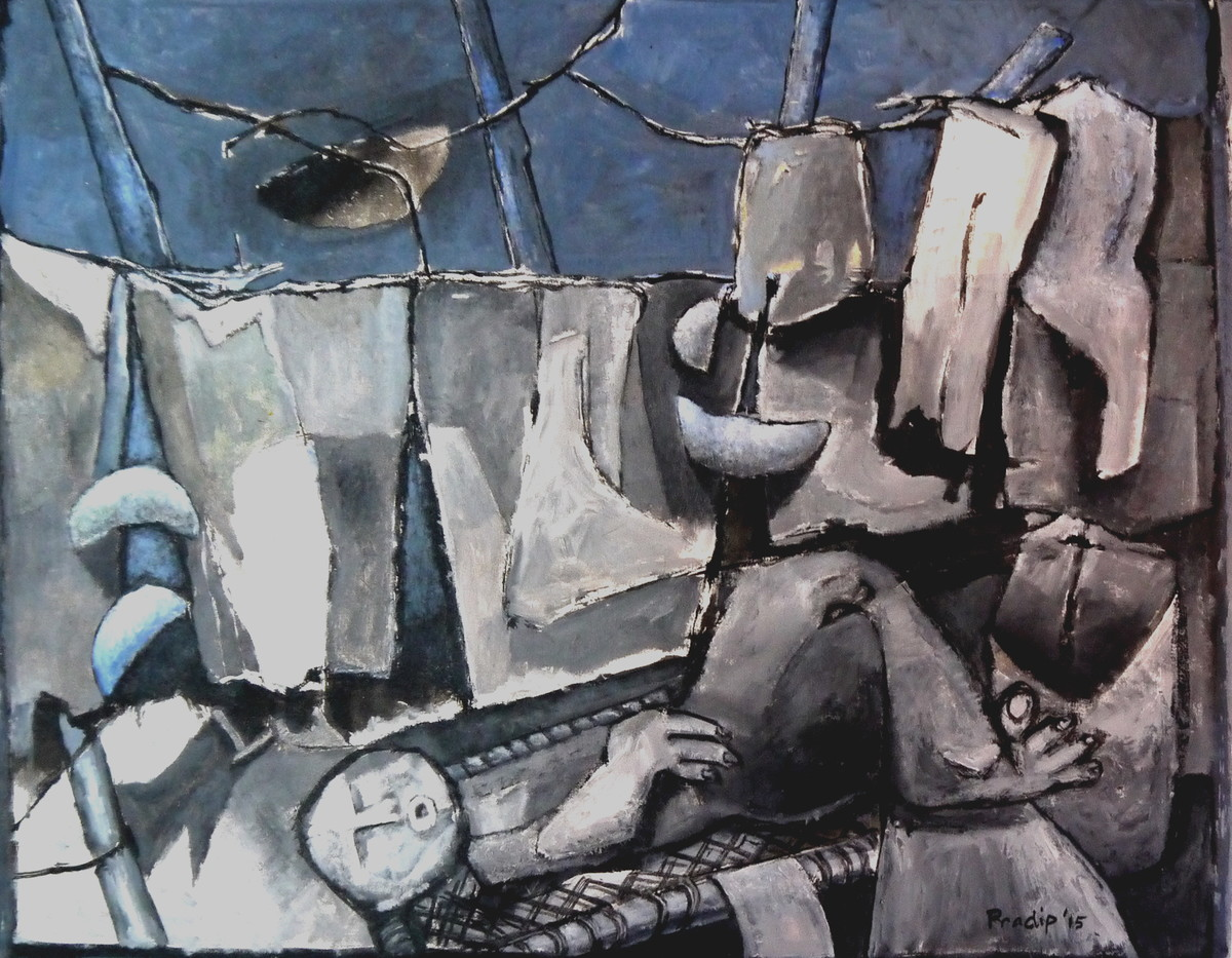Man On The Cot by Pradip Chaudhuri, Conceptual Painting, Acrylic on Canvas, Gray color