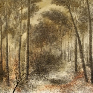 Forest 1 by Shuvankar Maitra, Illustration Painting, Mixed Media on Paper, Brown color