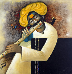 Dhangar with Flute by Raosaheb Gurav, Traditional Painting, Oil on Canvas, Brown color