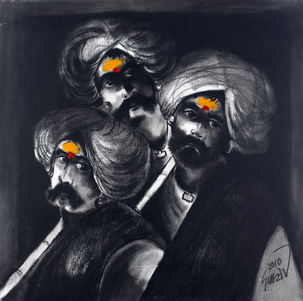 Three Shepherd by Raosaheb Gurav, Traditional Painting, Oil on Canvas, Gray color