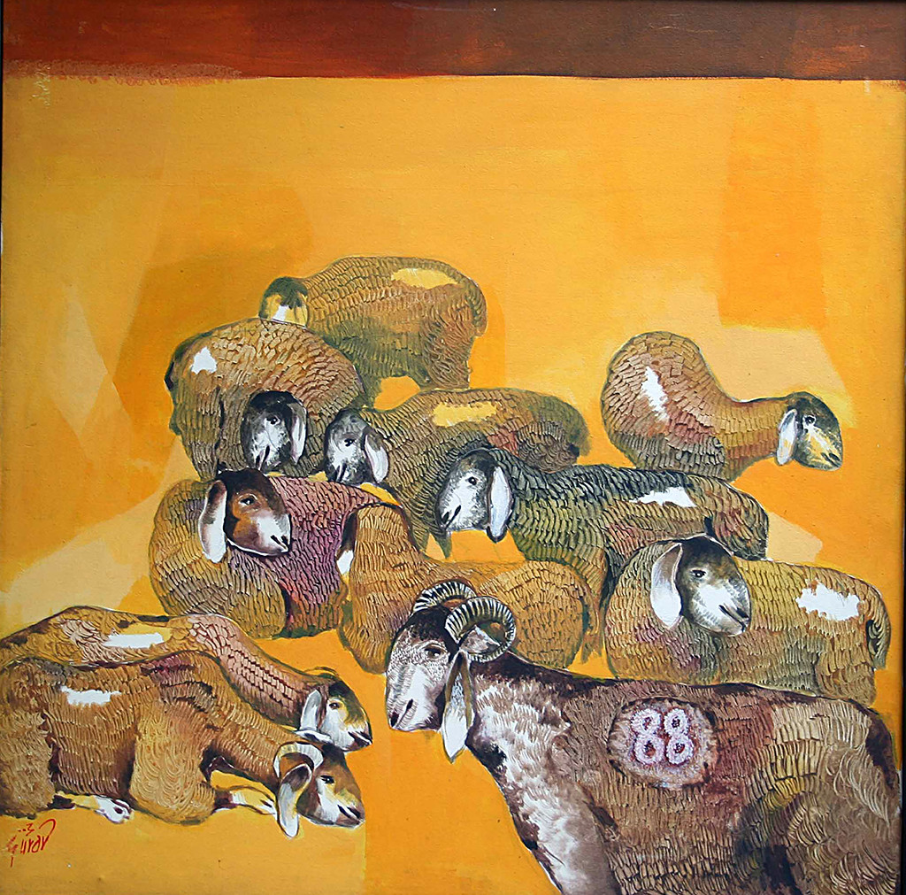 Goat 88 by Raosaheb Gurav, Conceptual Painting, Acrylic on Canvas, Brown color