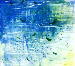 Zen 01 by Runa Biswas, Impressionism Painting, Watercolor on Paper, Cyan color
