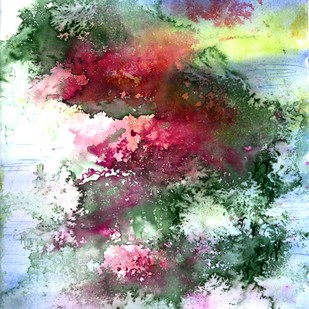 Zen 02 by Runa Biswas, Abstract Painting, Watercolor Wash on Paper, Cyan color
