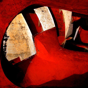 Architectural Abstract - 09 by CR Shelare, Image Photography, Digital Print on Canvas, Red color