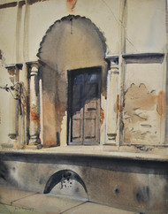 Shadow by Sumantra Mukherjee, Impressionism Painting, Watercolor on Paper, Brown color