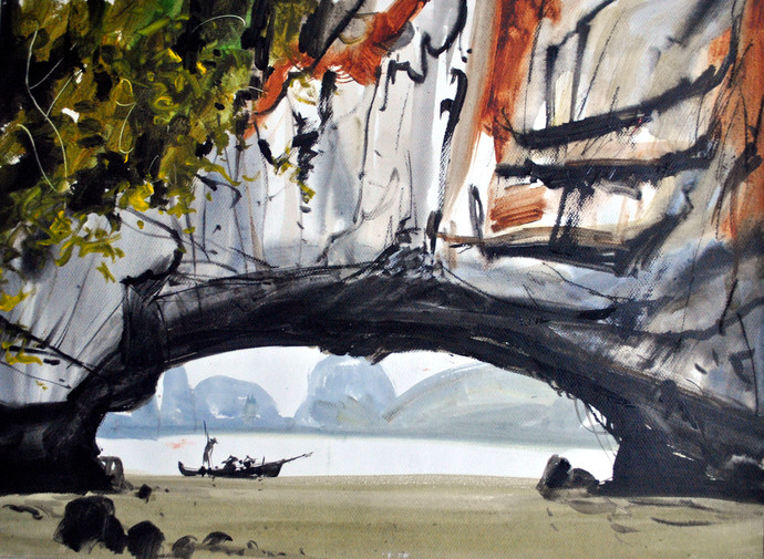 Hong Kong Island III by Sumantra Mukherjee, Impressionism Painting, Acrylic on Paper, Gray color