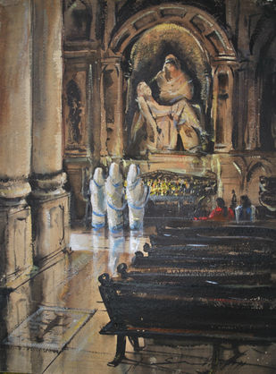 Prayer by Sumantra Mukherjee, Impressionism Painting, Watercolor on Paper, Brown color