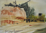 Coal Mine by Sumantra Mukherjee, Impressionism Painting, Watercolor on Paper, Beige color