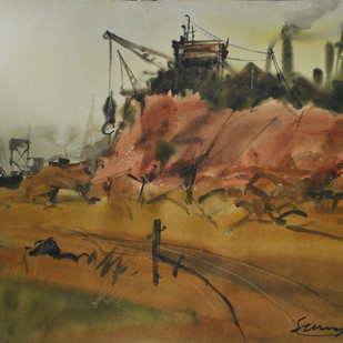Evening Smoke by Sumantra Mukherjee, Impressionism Painting, Watercolor & Ink on Paper, Brown color