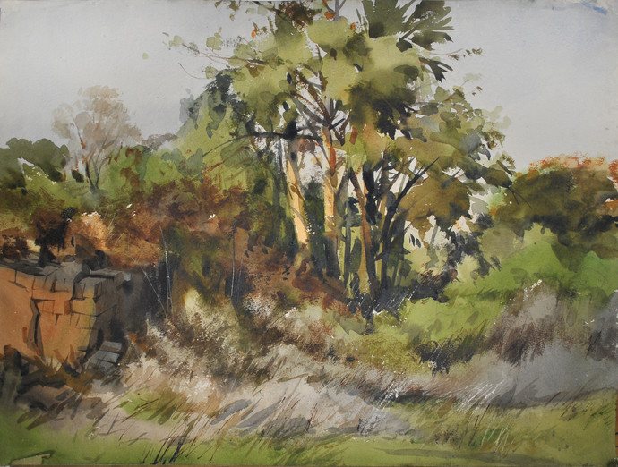 Late Afternoon in a Garden by Sumantra Mukherjee, Impressionism Painting, Watercolor on Paper, Brown color