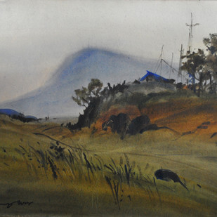 Dusk by Sumantra Mukherjee, Impressionism Painting, Watercolor on Paper, Gray color