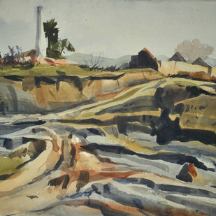 Soil by Sumantra Mukherjee, Impressionism Painting, Watercolor on Paper, Beige color