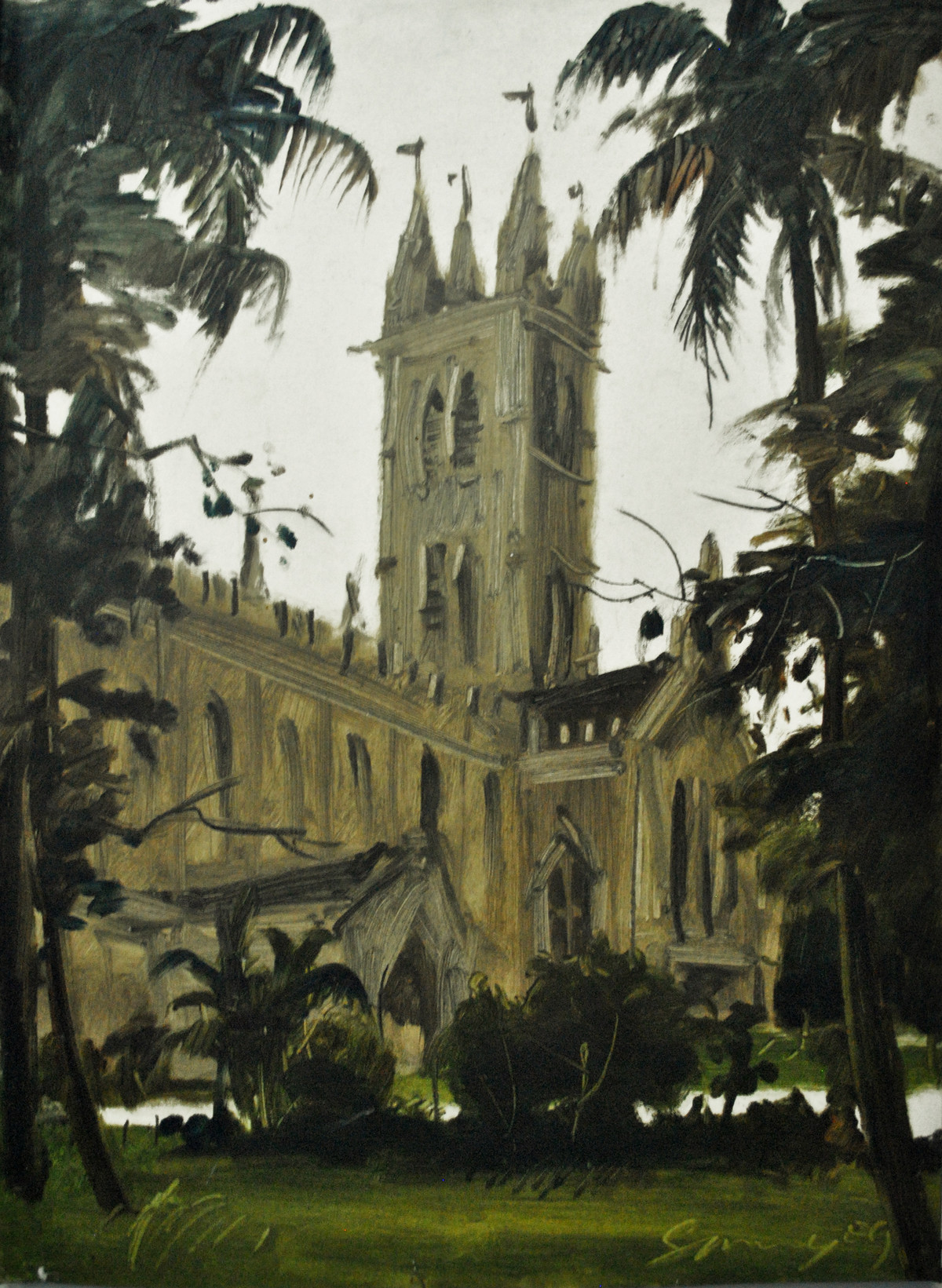 A Cathedral in Kolkata by Sumantra Mukherjee, Impressionism , Oil on Paper, Green color