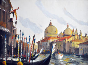 Floating as a Tourist II by Sumantra Mukherjee, Impressionism , Oil on Paper, Gray color
