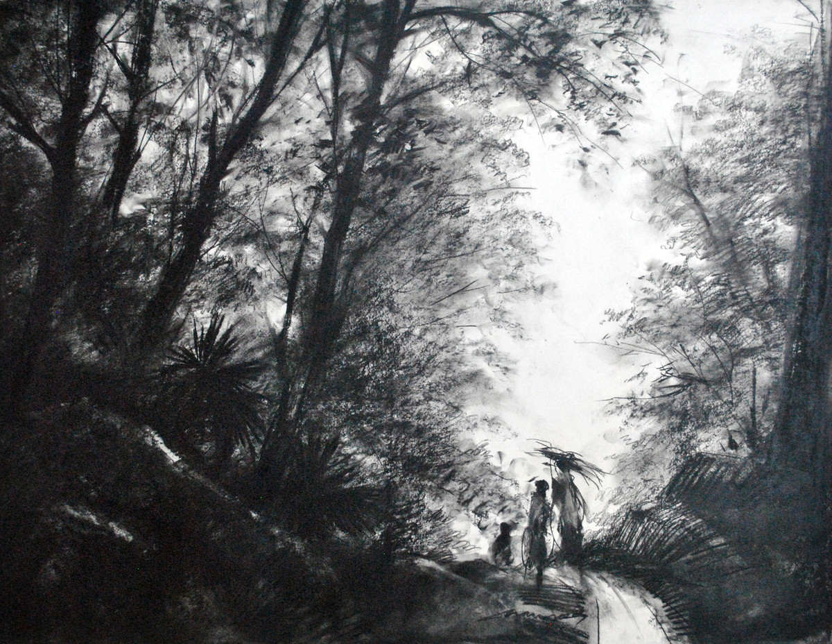 The Way by Sumantra Mukherjee, Illustration Drawing, Charcoal on Paper, Gray color