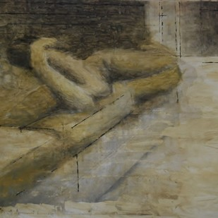 Room II by Enna Kathrecha, Impressionism , Oil on Paper, Brown color