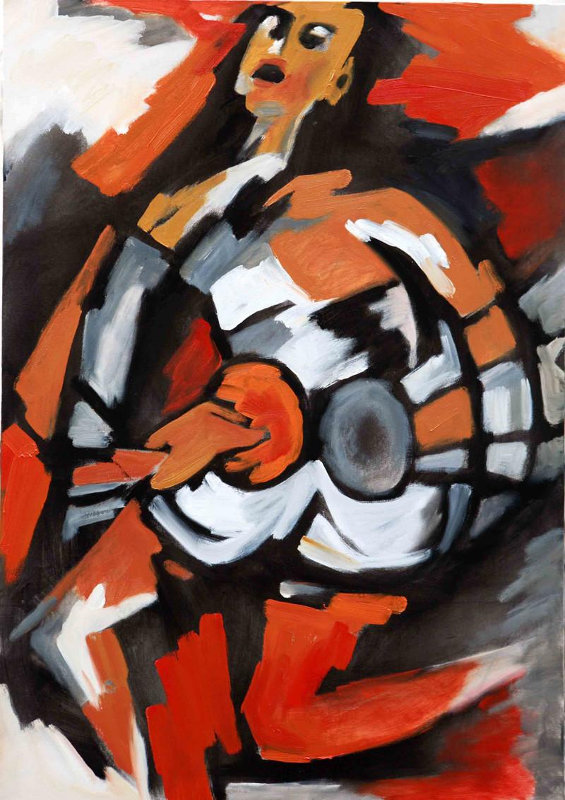 Cymbals by Milon Mukherjee, Conceptual , Oil on Canvas, Brown color