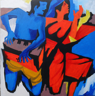Harmony by Milon Mukherjee, Conceptual Painting, Acrylic on Canvas, Blue color